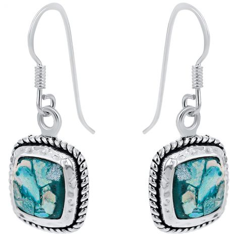 Roman Glass Square Rope Design 925 Sterling Silver Earrings