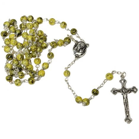 Green Marble Rosary Beads with 'Virgin Mary' Icon & Jerusalem Soil