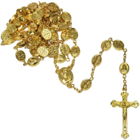 Golden Rosary Beads with 'Jerusalem Cross / Jesus and Mary' Icons & Holy Soil