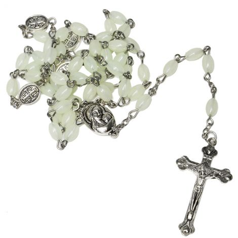 Rosary Beads with 'Jerusalem Cross' - 'Jesus and Mary' Icon & Holy Soil