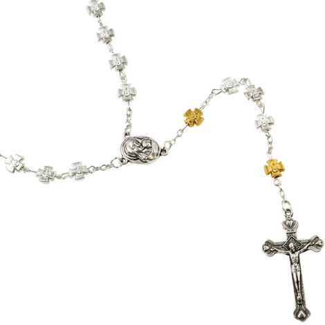 Rosary with Silver & Golden Crosses - Made in Jerusalem