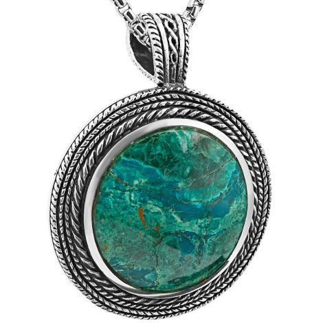 'Solomon Stone' Round Necklace from Israel - Sterling Silver