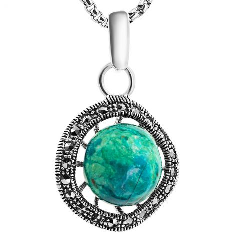 'Solomon Stone' with Marcasite 'Genesis' Pendant - Sterling Silver