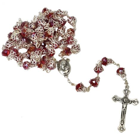 Ruby Glass Rosary Beads with 'Jesus and Mary' Icon & Holy Soil