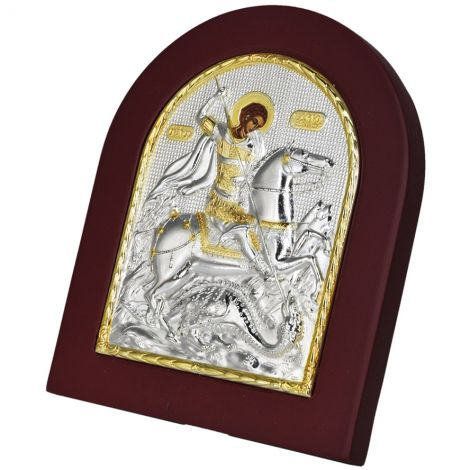 Saint George Slaying the Dragon Icon - Silver and Gold Plated