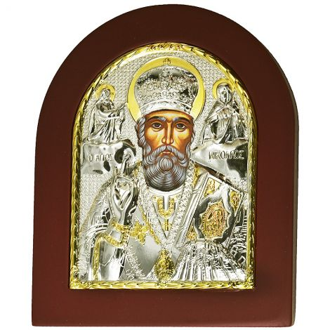 Saint Nicholas the Great Icon with Stand - Silver and Gold Plated
