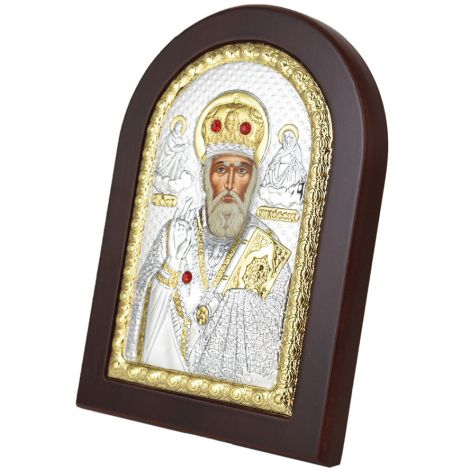 Arched 'Saint Nicholas' Icon - Silver Plated with Wood