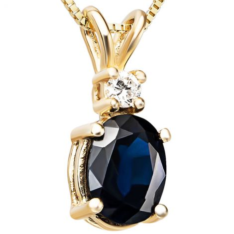 Sapphire with Diamond on a 14k Gold Prong Setting Pendant
