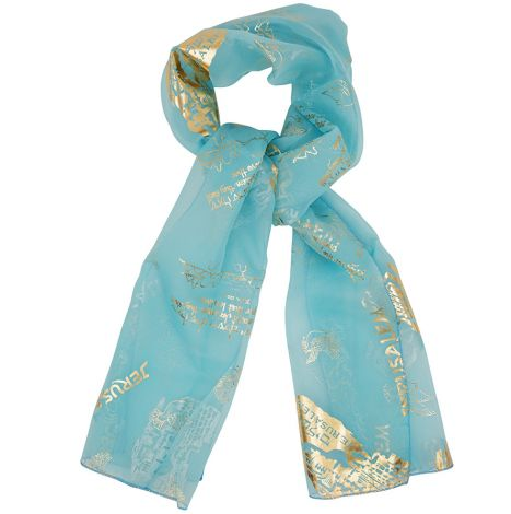 "Christian Scarf Psalm 122:6 ""Pray for the Peace of Jerusalem"" Pale Blue"