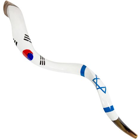Israel and South Korea United Flags' Large Painted Shofar By Sarit Romano