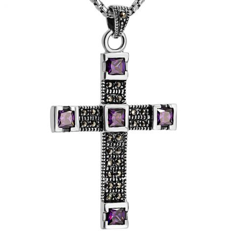 Sterling Silver Cross with Marcasite and Amethyst from Jerusalem