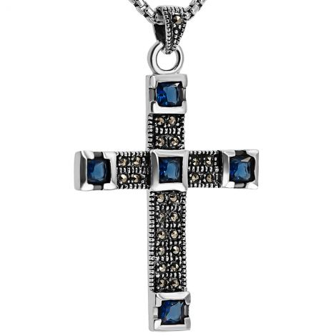 Sterling Silver 'Five Wounds of Christ' Cross Pendant - Marcasite and Blue