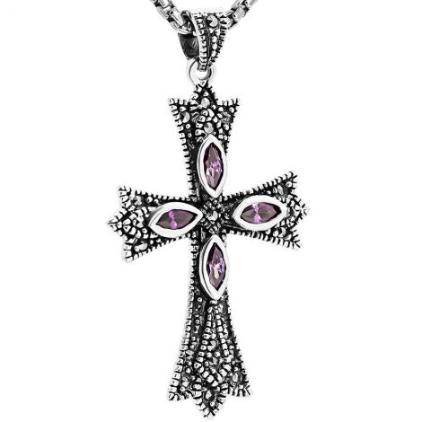 Christian Cross Necklace - Marcasite and Amethyst - Sterling Silver