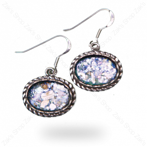 Oval 'Roman Glass' and 925 Silver Earrings from Israel
