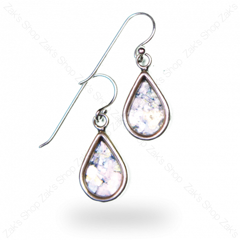 Tear' Shaped Silver Earrings - Genuine Roman Glass