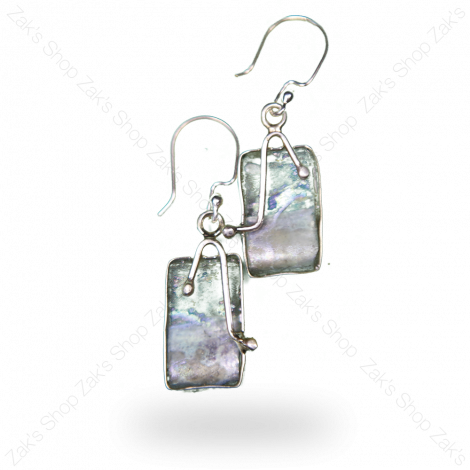 Roman Glass' Earrings with Ornate 925 Silver Frame