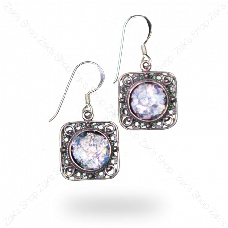 Roman Glass' Decorated 925 Sterling Silver Earrings