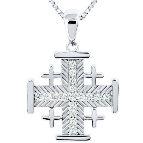 Jerusalem Cross' Fish-bone Design 17 CZ Stones in Sterling Silver