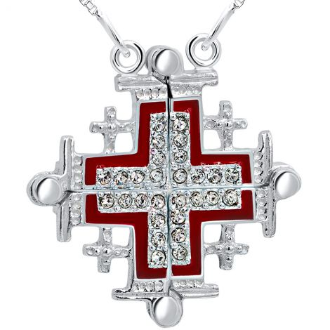 Jerusalem Cross' Opening with Zircon in 925 Silver Necklace - Red