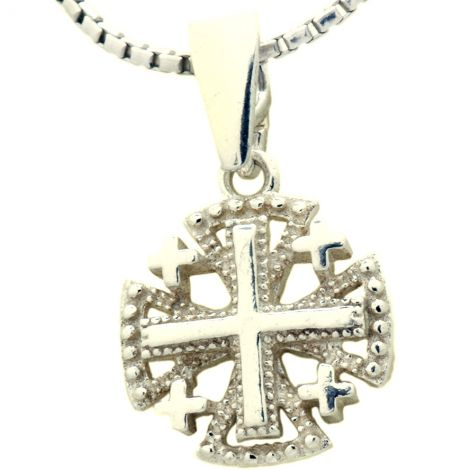 Small 'Jerusalem Cross' Decorated Sterling Silver Pendant