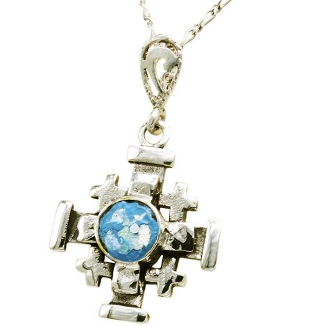 Roman Glass 'Jerusalem Cross' 3D Pendant made in the Holy Land
