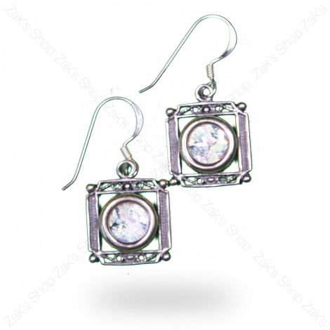 Silver 'Roman Glass' Square Decorated Earrings - Made in Israel