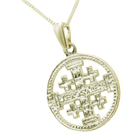 Jerusalem Cross' in a Circular Sterling Silver Pendant - Made in Jerusalem