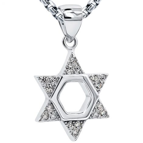 'Star of David' Sterling Silver Necklace Embedded with Clear Zirconia