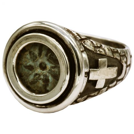 """Widow's Mite"" Coin in a Messianic 925 Silver Ring - Made in Israel (cross)"
