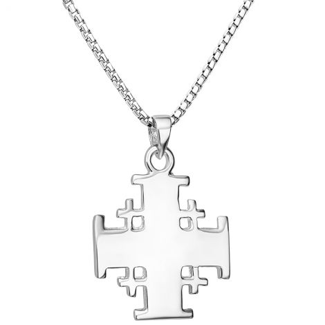 Large 'Jerusalem Cross' Sterling Silver Pendant from Jerusalem - 6 Gram