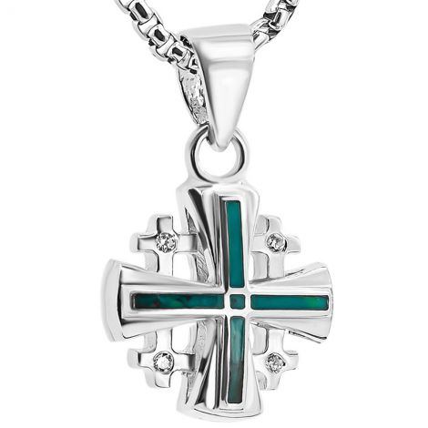 Solomon Stone 'Jerusalem Cross' Zirconia in Sterling Silver Pendant