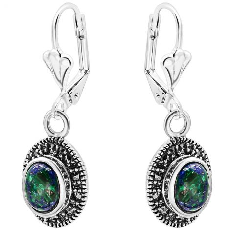 Solomon Stone Oval Earrings with Marcasite in Sterling Silver