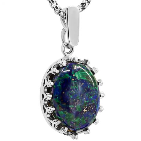 Solomon Stone 'Oval Crown' Sterling Silver Necklace from Israel