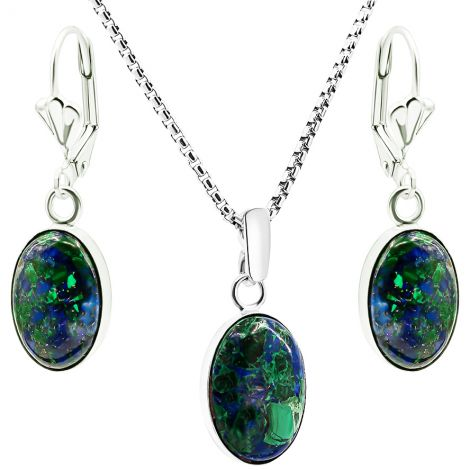 'Solomon Stone' Classic Sterling Silver Oval Jewelry Set - 2 Sizes