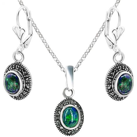 Solomon Stone Oval Jewelry Set with Marcasite in Sterling Silver