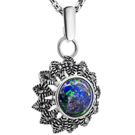 Solomon Stone 'Star of Bethlehem' Marcasite in Sterling Silver Pendant