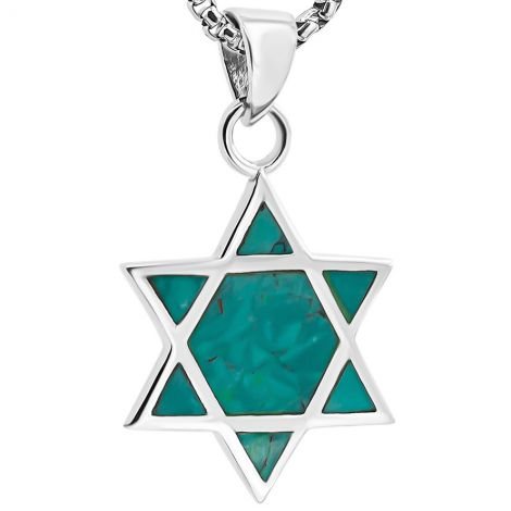 Solomon Stone 'Star of David' Sterling Silver Necklace - Made in Israel