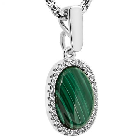 Classic 'Solomon Stone' Oval Pendant with Zirconia - Sterling Silver