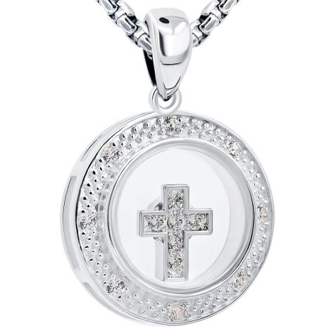 Round 'Spinning Cross' Necklace in Sterling Silver with Zirconia
