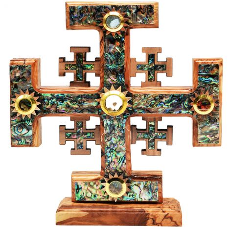 Free Standing Olive Wood Jerusalem Cross - Mother of Pearl inlay 8""