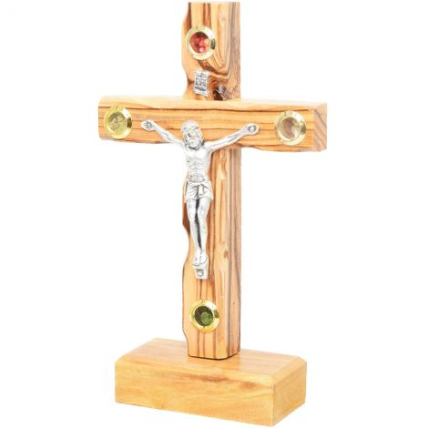 """Standing Olive Wood Cross with Crucifix and 4 Incense 5.5"""""""