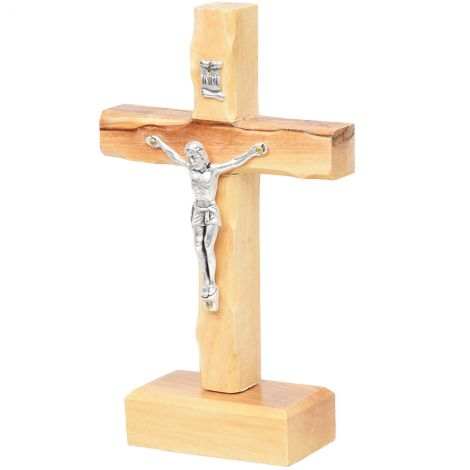 """Standing Olive Wood Cross with Crucifix and 'INRI' - 5.5"""""""