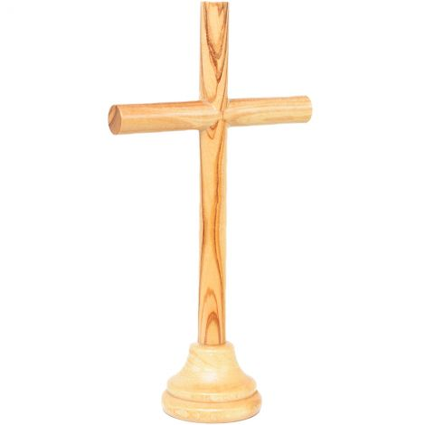 """Cross from Jerusalem on a Stand - Round Olive Wood Poles - 5"""""""