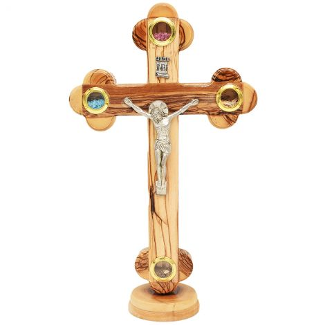 """Olive Wood Standing Crucifix - 3 Incense & Holy Soil - 11"""""""