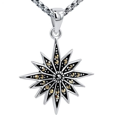Star of Bethlehem' - Marcasite on Sterling Silver Pendant from Jerusalem