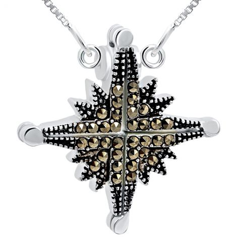 Star of Bethlehem' Opening Marcasite Necklace in Sterling Silver