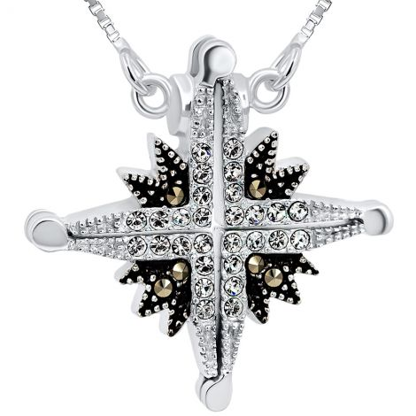 Star of Bethlehem' Opening Marcasite and Zircon Silver Necklace