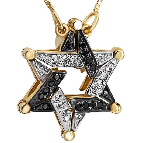 Star of David' 14k Gold B/W Diamonds Opening Necklace