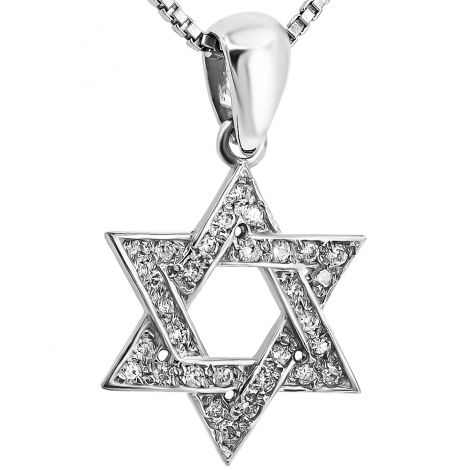 Star of David' 14k White Gold Diamond Necklace - Made in Israel