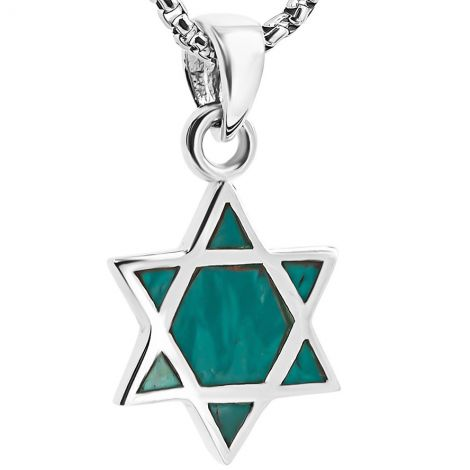 'Star of David' Solomon Stone Sterling Silver Necklace - Made in Israel